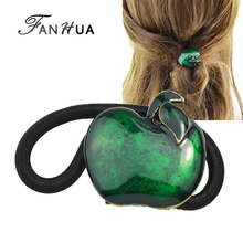 FANHUA New Arrival Fashion Plaits Hair Accessories Black Elastic Hair Bands Green Red Enamel Apple Headwear Accessories Women