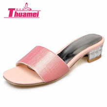 Thuamei women flip flops Beach sandals fashion slippers summer women flats shoes woman flat best pink silver gold #Y0616299F(China)