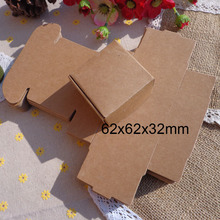62x62x32mm Blank Kraft Snak Party Box, Small Kraft Gift Paper Box Cookies Cake Candy Box