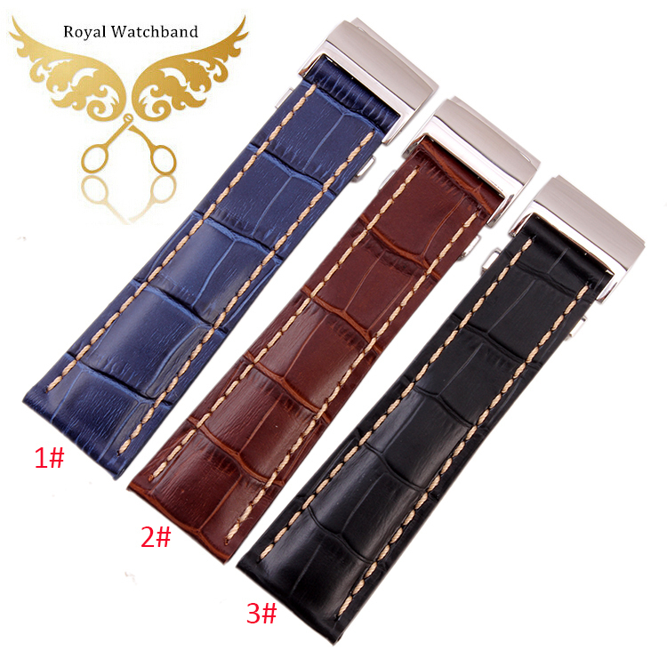 NEW Handmade 22mm Black Crocodile Grain Genuine Leather Watch Band Strap 22mm Clasp/Buckle for BRAND Watch Free Shipping<br>