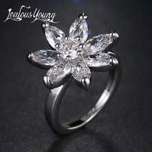 Fashion AAA+ Cubic Zirconia Flower Ring for Girl Party Crystal Exquisite Bague Female Jewerly AR092