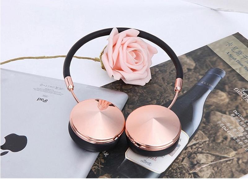 Liboer Beautiful Headphones Dynamic Headband Rose Gold Headphones with Mic Wired Headset for Mobile Phone On-ear Headphone 13