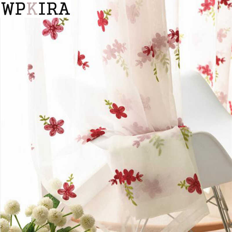 Embroidered Pink Flower Voile Sheer Curtains for Living Room Flower Tulle Curtain Drapes For Children Girls Bedroom 261&30