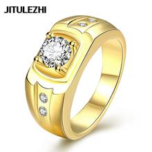 Yellow Gold color rings for ladies blue/red/purple stone bague femme jewelry Wholesale Vintage gift for girlfriend