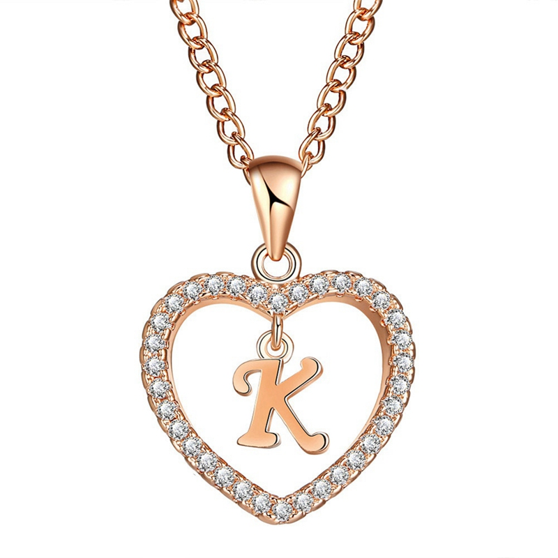 Romantic Gold Color Cubic Zirconia Love Heart Crystal Pendant Letter Name Necklace Charm Women 26 Capital Letters Choker Jewelry(China)