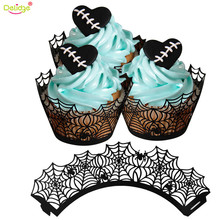 Delidge 12 pcs/set Halloween Cupcake Liner Black Paper Witch Ghost Fortress Shape Cake Case Halloween Party Decoration Tools(China)