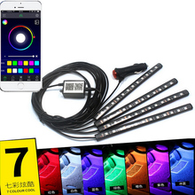 4pcs/set 12LED RGB Strip Light Bluetooth Control Car Flexible Atmosphere Foot Decorative Lamp with Android iOS Phone APP Control