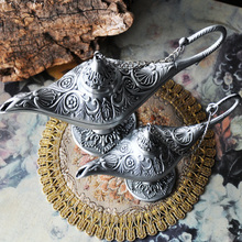 2016 New Christmas Gifts Vintage tea pot home decoration pewter plated craft retro gifts Ala ddin Lamp(China)