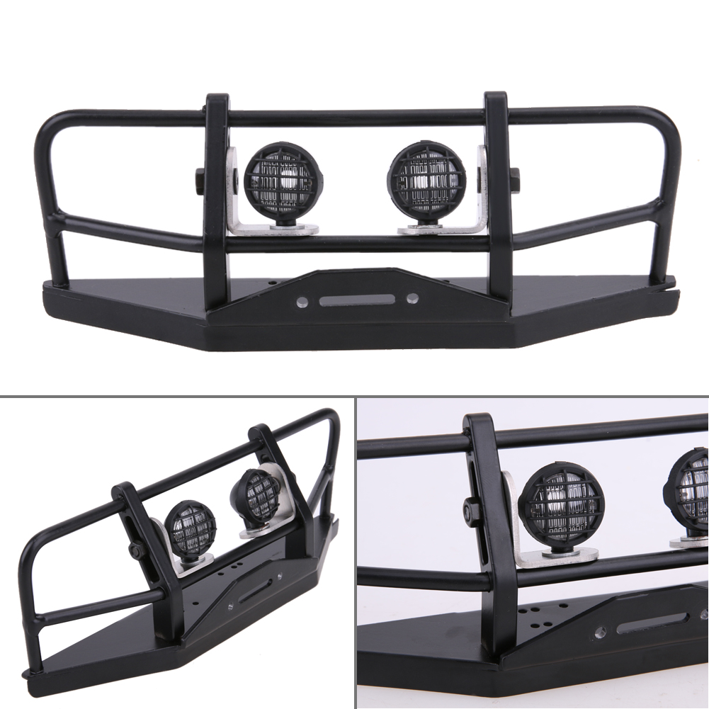 RC Truck Front Bull Bar Front Bull Bar Metal Bumper Light Defender for 1/10 RC4WD D90 Axial SCX10 <br>