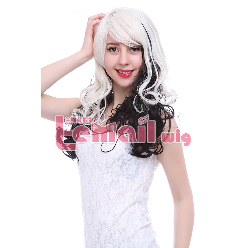 Free Shipping Women Fashion 60cm Long Curly Mix Color Blonde Black Ombre Wig Cosplay Synthetic Wigs<br><br>Aliexpress