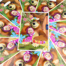 Disposable Plastic Masha Bear Loot Candy Bag Gifts Bags Birthday Party Decoration Kids Favors Baby Shower Supplies 10pcs\lot