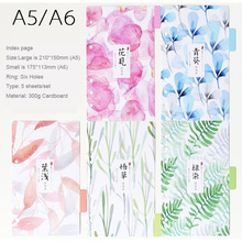 Japanese style Colourful Divider Index page Notebook Day Planner Accessories Bookmark 5 sheets/Set Cute diary school Stationery(China)