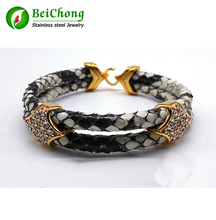 10Pcs Fashion Python Skin Snake 5MM Men with Silver Stainless Steel BOX Circle Bangle Bracelet For Watch Gift