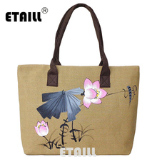 ETAILL Chinese Hand Painted Casual Tote Female Daily Use Female Shopping Bag Ladies Single Shoulder Handbag Simple Beach Bag(China)