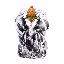 Fashion Skin Decoration Animal Tattoos Novelty Indian Elephant Waterproof Temporary Tatoos Body Art Stickers 19*12cm