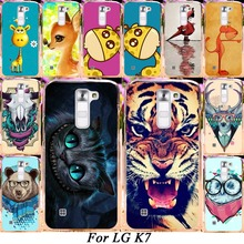 Silicone Plastic Mobile Phone Case For LG K7 LTE Tribute 5 LS675 Q7 LTE MS330 5'' Dual SIM M1 Cover Colorful Animal Shell Skin
