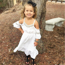 pudcoco 2-7Y baby girls dress Children Baby Girl Three Quarter Sleeve white lace Long dress Kid Princess Party Kids BEBE Dress(China)