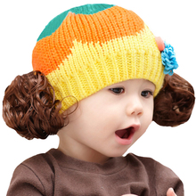 Crochet Baby Girl Hat for 5-36 Months Infant Toddler Wave Doll Wig Knitted Flower Kids Girls Winter Beanie Patchwork Pattern Cap(China)