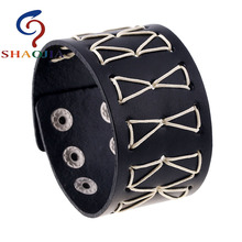 SHAOJIA 2017 Punk Manual Making Black Genuine Leather Bracelets Rock Wide Leather Bracelets Men Geometric Adjustable Jewelry(China)