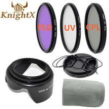 KnightX 49mm  58mm 67mm 55mm uv filter 52mm FLD CPL lens Set Lens Hood  for Canon eos 600d Sony for nikon d7100 5200 d5300 d3300