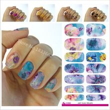 2017 Real Hot Sale V606 Water Transfer Nail Foil Sticker Art Painting Chinese Ink Paiting Flowers Wraps Manicure Decor Decals