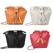 Women Faux Leather Tassel Shoulder Bag Tote Purse Crossbody Messenger Handbag(China)