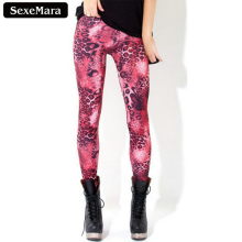 SexeMara 2017 Pink Leopard Colorful Casual Summer Gothic  Leggings Interest Print  Lady Sexy Elastic Pants BL-109