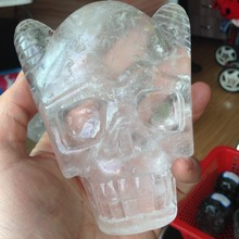 Buy TT267, 543g Natural Clear Quartz Crystal Skull Face Carved Stone Healing Quartz Special Skull Sale for $59.99 in AliExpress store