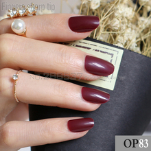24pcs new product hot sales candy oval decorative fake nails short round section deep wine red comfortable false nails R26 P83