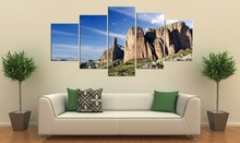 BANMU 5 Pieces Frameless Canvas Photo Prints Blue Sky Baiyun Mountain Wall Decorations Wall Art Picture Canvas Wall Paintings