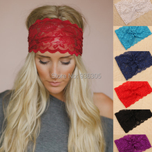 3Pcs/lot New 2015 Women Fashion Lace Wide Headband Bohemian Lacy Flower Headwrap Girls Elastic Hairbands Hair Accessories