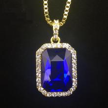 "Iftec New Mens Bling Rhinestone Pendant Necklace 24"" 30"" Box Chain Gold Color Iced Out Crystal Rock Rap Hip Hop Jewelry For Gift"