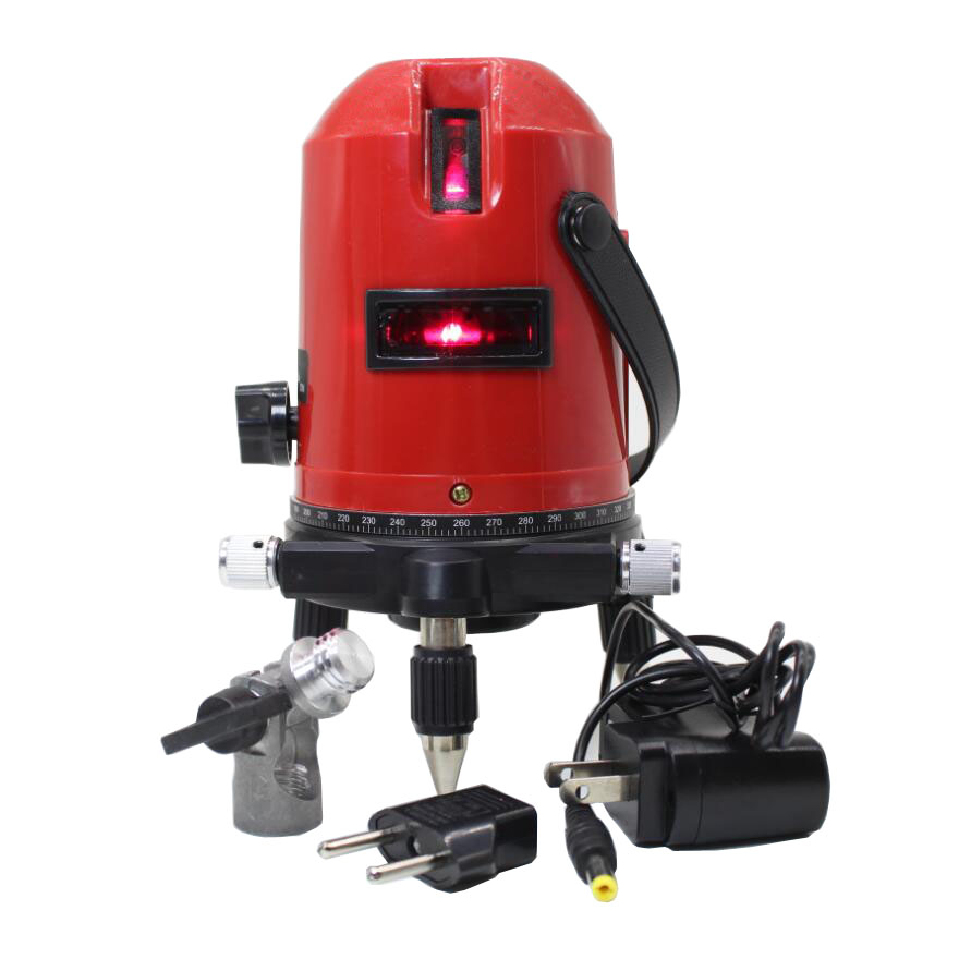 Laser Level with 360 Rotary Tilt Function / Outdoor Euro Plug 635nM Leveler 3 Lines 4 Point Self Laser Level<br>
