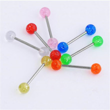 Wholesale 7pcs Sexy Mixed Color Acrylic Ball Barbell Piercing Rings Tongue Nipple Stainless Steel Fashion Body Jewelry Hot