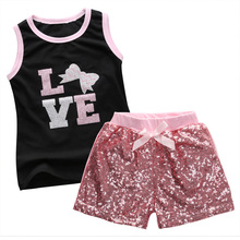 Hi Hi Baby Store 2Pcs Baby Girls Print T-shirt Sequins Pants Cotton Outfits Set Kids Summer Clothing 1-6