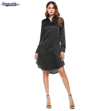 K Swarlooke 2017 New Arrival Women Fashion Turn-Down Collar Satin Embroidered Long Sleeved Blouse Heavy Single Breasted Dress(China)