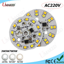 Customize Order 1000pc AC220V LED bulb Aluminum lamp plate Two Color SMD2835 Chips with IC Driver PCB 3W 5W 7W 9W for downlight(China)