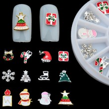 Christmas Tree Design Snowflake Santa Christmas 3D Glitter Nail Art Decoration Metal Charms Rhinestone Jewerly Finding Cabochons