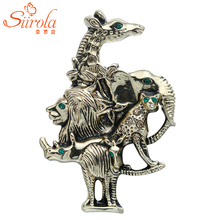 Classic Retro Men Women Jewelry Gold-color Animal Brooch Giraffe Elephant Lion Leopard Rhino Breastpin Corsage Hijab Lapel Pins