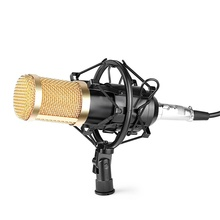 Professional Studio Broadcasting BM-800 Condenser Sound Studio Recording Broadcasting Microphone + Shock Mount Holder black