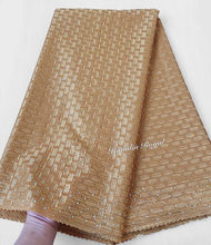 decorated stones on border plain gold Polish cotton lace African Swiss voile Lace fabric has no holes 5 yards / pc 7152