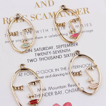 Buy New style 50pcs/lot alloy drop oil gold color Sexy Women Face shape floating locket charms diy jewelry finding for $13.22 in AliExpress store