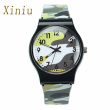 New Fashion Children Watches Camouflage Style Boy Girls LED Analog Quartz Watch Rubber Sport Military Watch Relogio Masculino