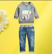 JT-189  Fashion autumn children's clothing sets cotton car Boy set loose-fitting suit children outerwear sweaters +jeans pants