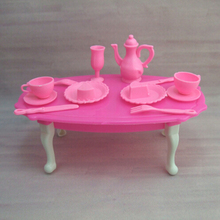 1Set=12PCs Girl Birthday Gift Dinner Table For Barbie Doll Accessories Gift Toy For Girl Pink Color Plastic(China)