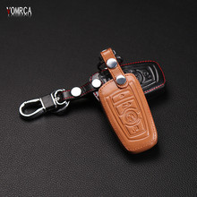 The latest hot sale 100% leather key holder for M1 M2 M3 F10 F20 F30 X1 X6 X5 BMW E90 3 5 7 dust collector, 3 buttons remote