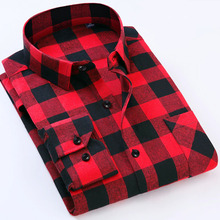 Plus size 6XL Men's Flannel Plaid Shirts Dress 2017 Male Casual Warm Soft Comfort Long Sleeve Shirt Clothes camisa masculina MC(China)