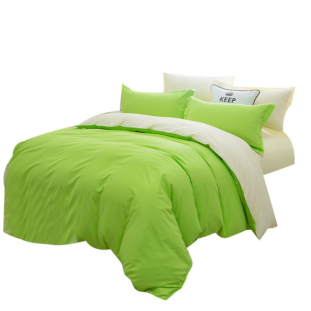 All Size Cute Apple Green Home Bed kits Sheet Bedding Solid Colors Single Twin Full Queen and Double King Soft Feeling(China (Mainland))