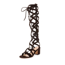 New 2017 Suede Knee High Gladiator Sandals Shoes Woman Cut Out Lace Up Summer Boots Sexy Women Sandal Thick Heels Fringe Sandals