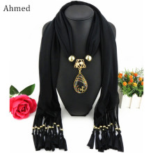 Ahmed Bali Yarn Ethnic Beads Tassel Scarf With Gold Peacock Pendant Fringe Long Scarf Necklace For Women Jewelry Accessories(China)